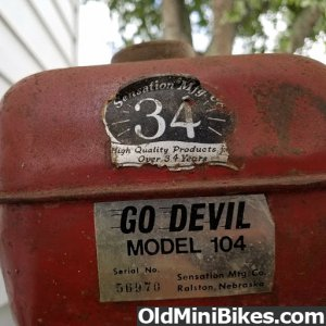 1968 Go Devil Mini Bike Model 104